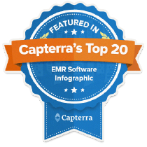 a blue ribbon-like badge from Capterra with a text ``FEATURED IN Capterra's Top 20 EMR Software Infographic``