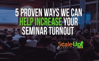 an image banner that says 5 proven ways we can help increase your seminar turnout with logo and background of people in a meeting