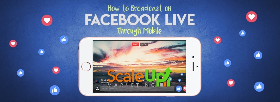"""header image of the blog title """"How To Broadcast on Facebook Live Through Mobile"""" with a live facebook video on a screen of an open mobile placed horizontally"""