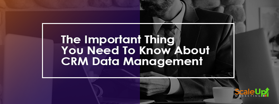 "header image of the blog title ""The Important Thing You Need To Know About CRM Data Management"" with a background of a man wearing a corporate attire facing the laptop screen with a cup on his left and holding a cellphone on his left hand, this is an example of knowing crm system"