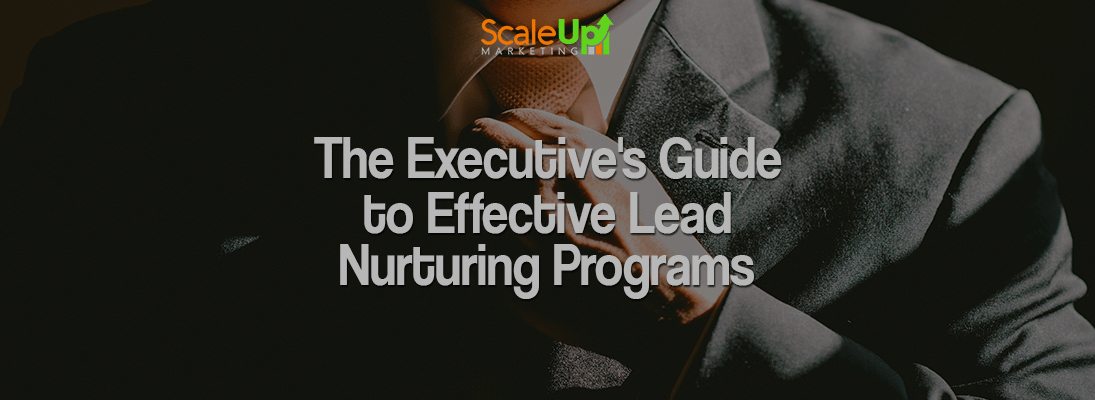 "the header image of the blog title ""The Executive's Guide to Effective Lead Nurturing Programs"" with a background of man wearing a gray formal attire while holding his brown dotted necktie"