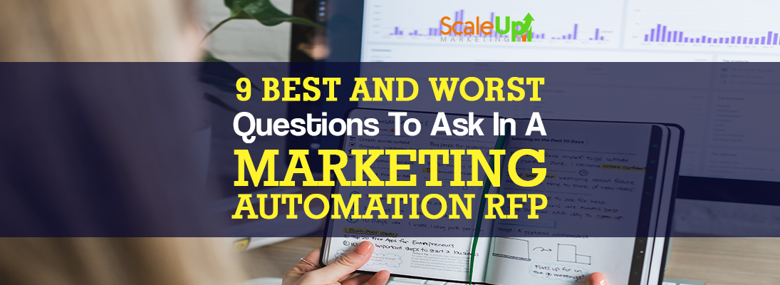 """header image of the blog title """"9 Best and Worst Questions To Ask In A Marketing Automation RFP"""" with a background of a hand holding an open notebook with writings on it and a desktop behind it"""