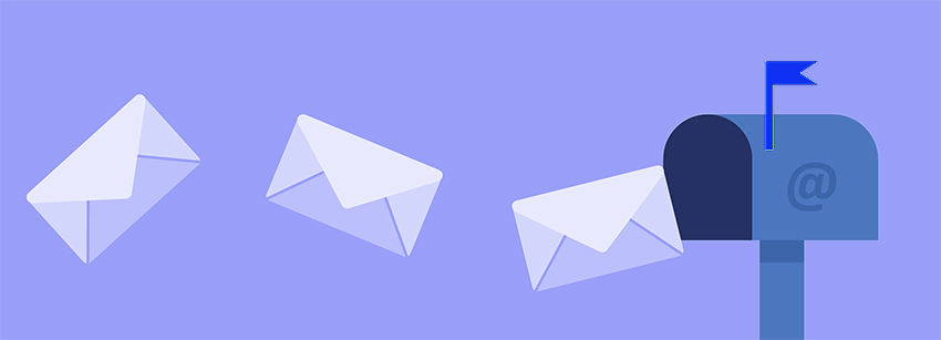3 white envelopes flying out from a blue mail box with a violet background, this is an exmaple of email deliverability