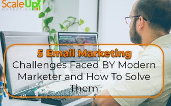 "blog tile ""5 Email Marketing Challenges That Modern Marketers Should Be Aware Of"" a header with a background of a man wearing eyeglasses in front of a computer"