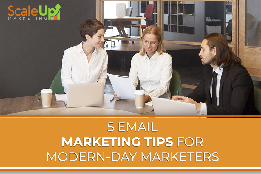 """a blog title """"5 Email Marketing Tips for Modern-day Marketers 