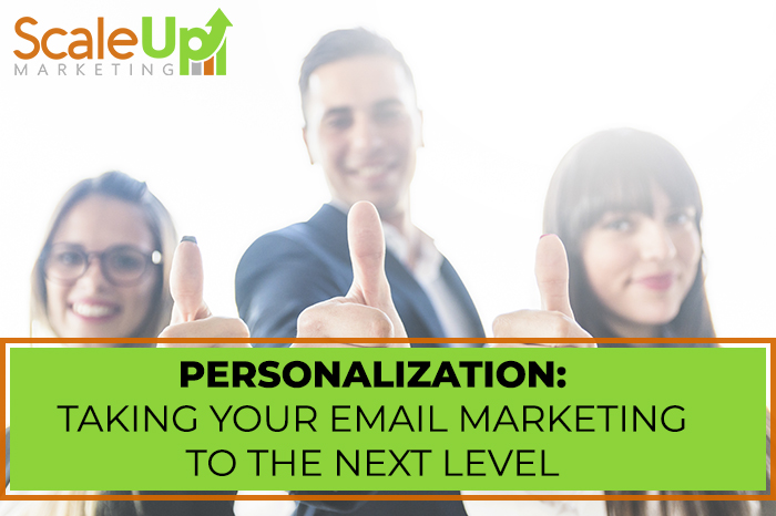 """blog title""""Personalization: Taking Your Email Marketing To the Next Level"""" with a header of three person making thumbs up"""