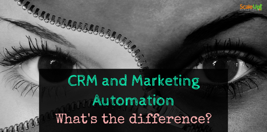 """header image of the blog title """"CRM and Marketing Automation What's the difference"""" with a black and white background of a girl's eyes divided by a zipper"""