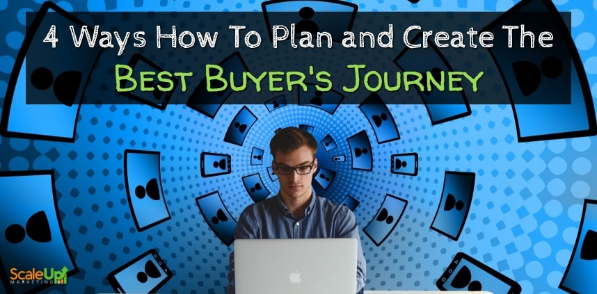 """header image of the blog title """"4 Ways How To Plan and Create The Best Buyer's Journey"""" with a background of icons moving in a spiral course behind a man facing a laptop"""