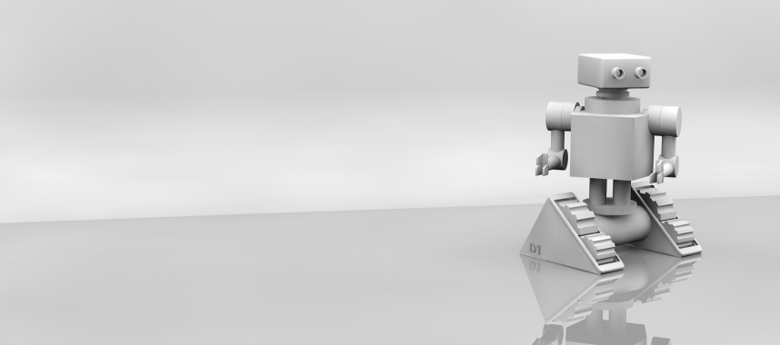 small white ai-powered robot standing on a glass surface with white background, this indicates automated marketing processes to create complex and varied buyer's journey
