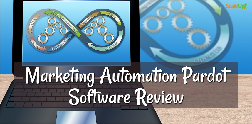 """header image of the blog title """"Marketing Automation Software: Pardot Review"""" with a background of an open laptop and an infinity symbol with gears inside and arrows indicating a step by step process"""
