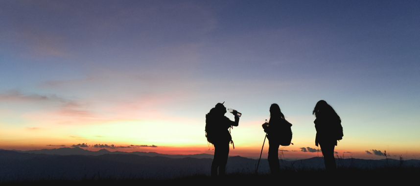 silhouette of three person standing on a mountain, this is an example the right path from prospect to customer