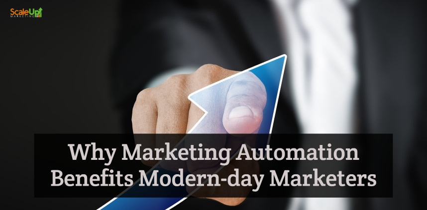 "header image of the blog title ""What is Marketing Automation? Can It Improve My Business?"" with a background of a man in suit front-pointing the blue arrow up"