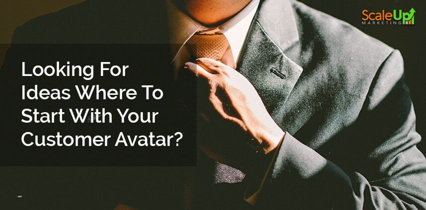 """header image of the blog title """"4 Tips to Help You Create a Customer Avatar"""" with a close-up torso shot of a businessman holding his necktie"""