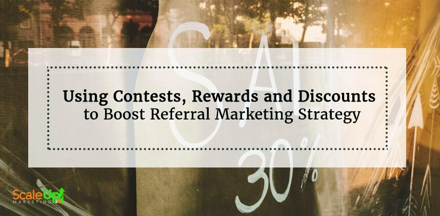 """header image of the blog title """"Customer Contests and Discounts, Your Passport To An Effective Referral Marketing Strategy"""" with a blurred backgound of an old house and a text """"SALE 30%"""""""