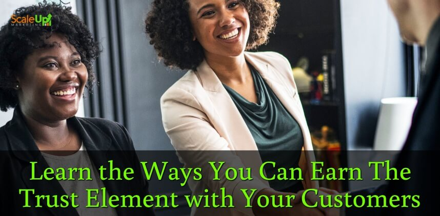 """header image of the blog title """"The Trust Element: How It Gets You More Repeat Sales"""" with over-the-shoulder shot of a man shaking hands and smiling directly to 2 women wearing corporate attires"""