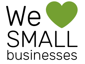 a text saying ``We SMALL businesses`` with a small green heart beside the word ``We``
