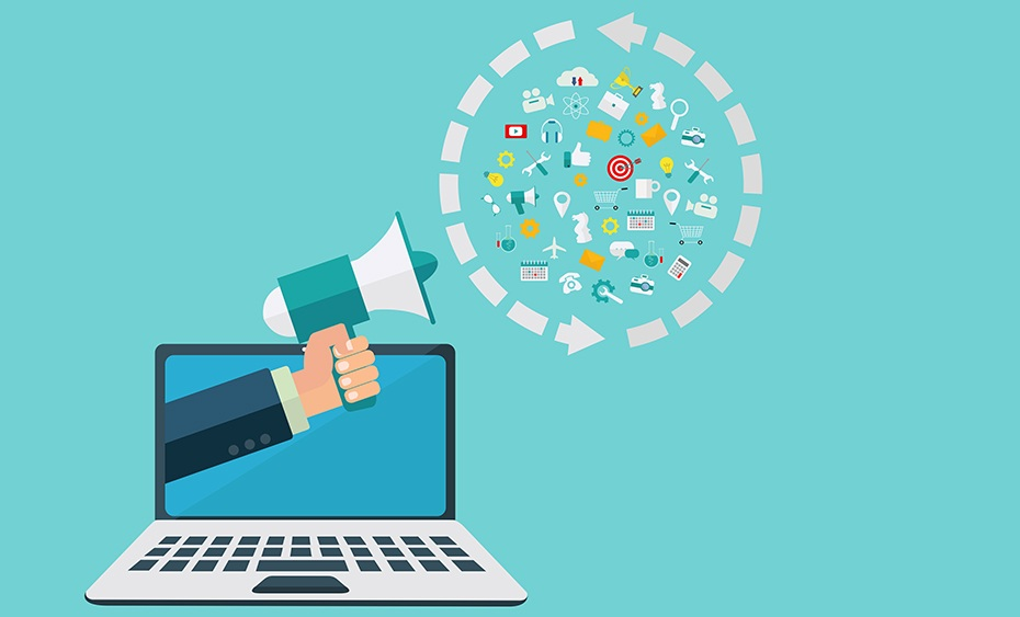 an animated laptop and an animated hand holding a megaphone facing directly to icons related to lead generation inside a circle of two broken arrows