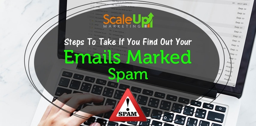 "header image of the blog title ""Steps To Take If You Find Out Your Emails Marked Spam"" with a background image of a person's hand resting on a laptop's keyboard"