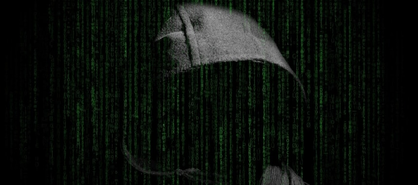 a black hood without face with a lot of code indicating spam