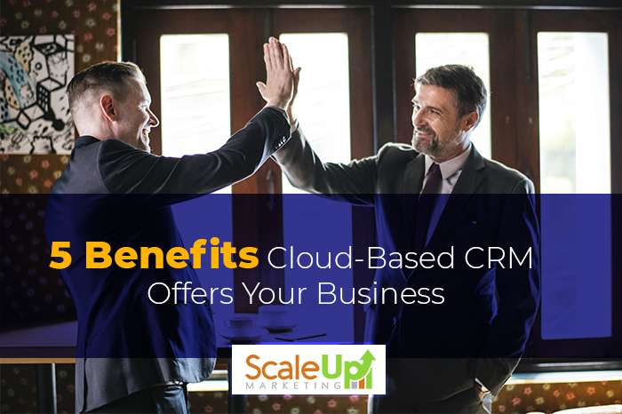 "a blog title ""5 Benefits Cloud-Based CRM Offers Your Business"" with men standing wearing black suit while doing high five"