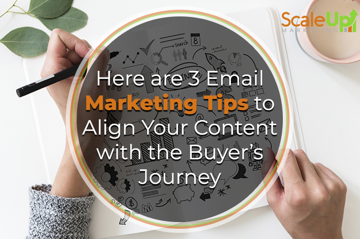 """blog title """"3 Ways to Align Your Email Marketing Strategy with the Buyer's Journey"""" A Header With A Person Holding Black Pen and Book Near Pink Ceramic Mug In A White Table"""