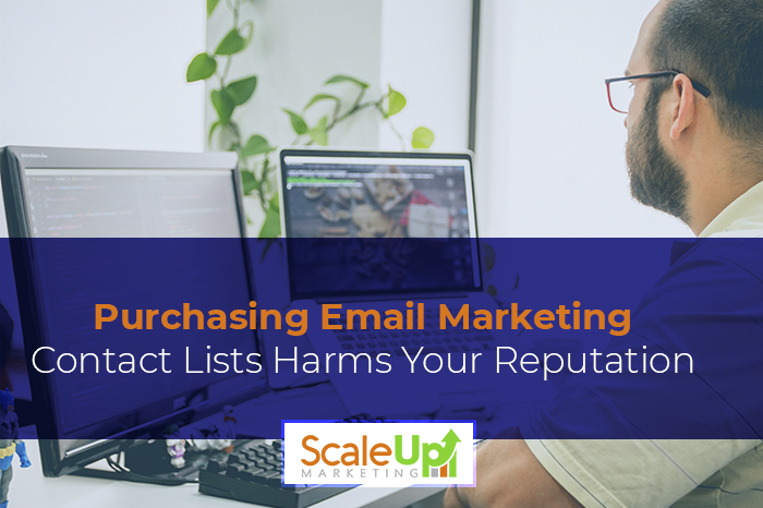 """a man working something on his laptop with a caption, """"Purchasing Email Marketing Contact Lists Harms Your Reputation"""""""