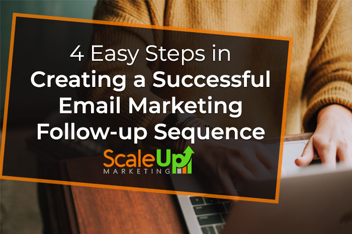 """blog title """"4 Easy Steps in Creating a Successful Email Marketing Follow-up Sequence"""" a background with a header of a man wearing yellow jacket with both hands on a laptop"""