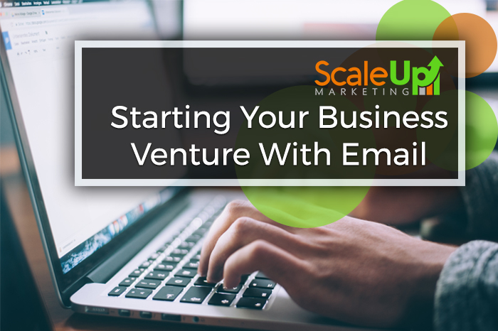 """""""Starting your business venture with email"""" caption with a picture of a man typing on his laptop"""